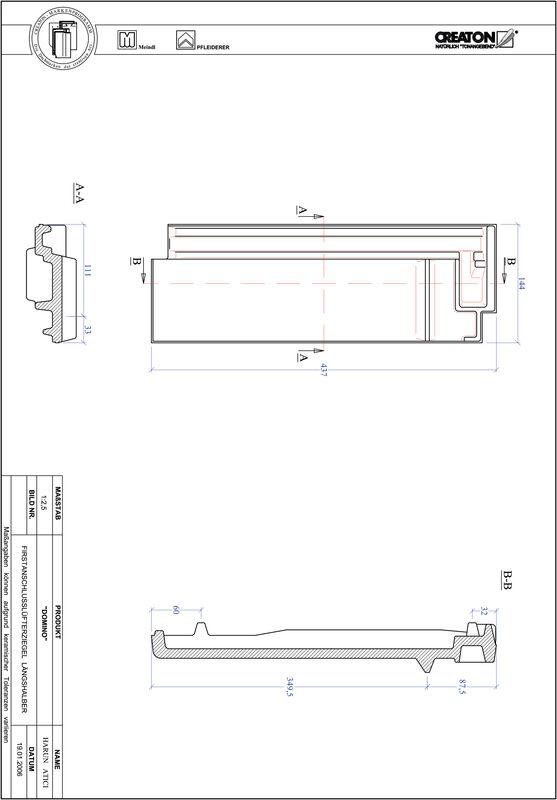 Produkt CAD-Datei DOMINO Firstanschlusslüfter Längshalber FALLH
