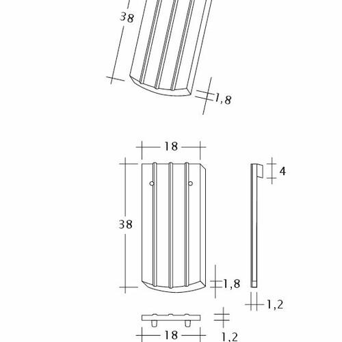 Produkt technische Zeichnung PROFIL Kera-Saechs-18cm-1-1