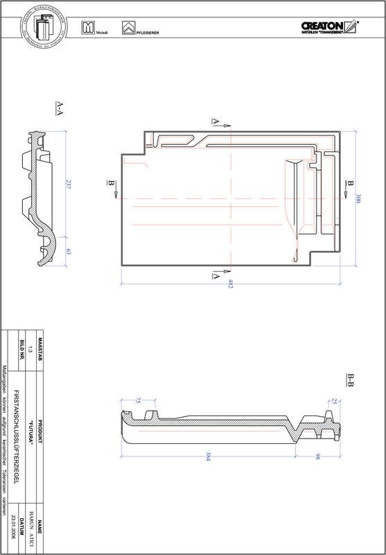Produkt CAD-Datei FUTURA Firstanschlusslüfterziegel FALZ