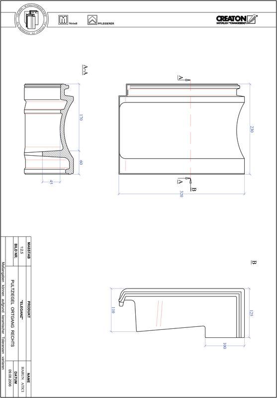 Produkt CAD-Datei ELEGANZ Pultziegel Ortgang rechts PULTOGR