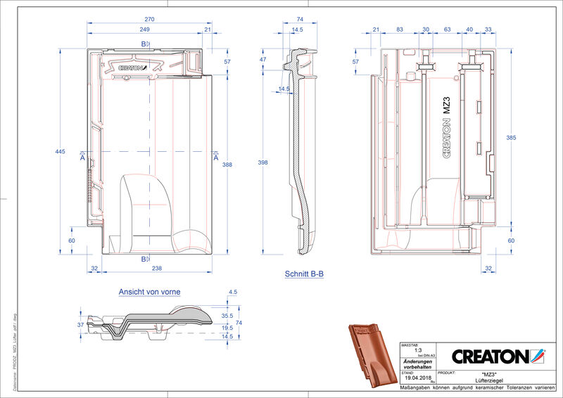 Produkt CAD-Datei MZ3 NEU Lüfterziegel LUEFTZ