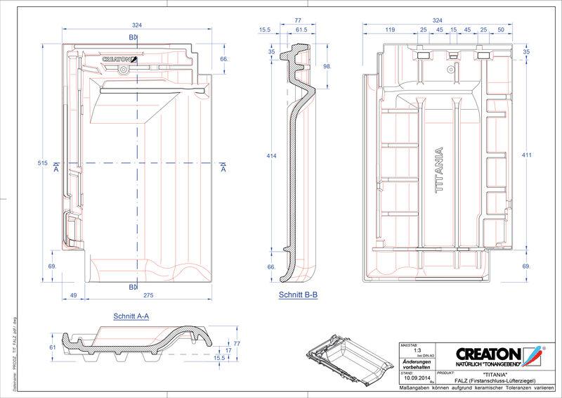 Produkt CAD-Datei TITANIA Firstanschlusslüfterziegel FALZ