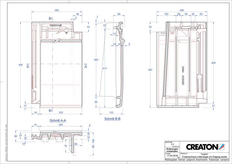 Produkt CAD-Datei VISIO Firstanschlusslüfter Ortgang rechts FALOGR