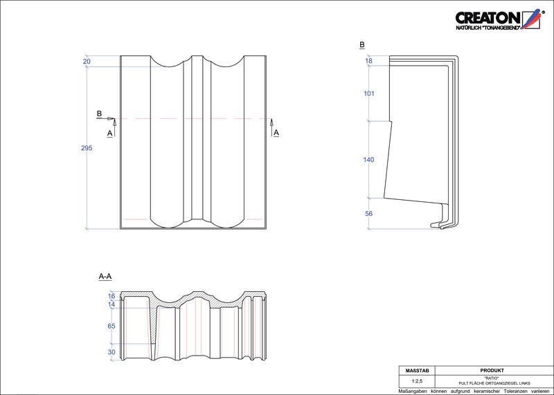 Produkt CAD-Datei RATIO Pultziegel Ortgang links PULTOGL