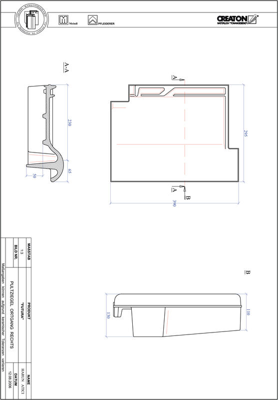 Produkt CAD-Datei FUTURA Pultziegel Ortgang rechts PULTOGR