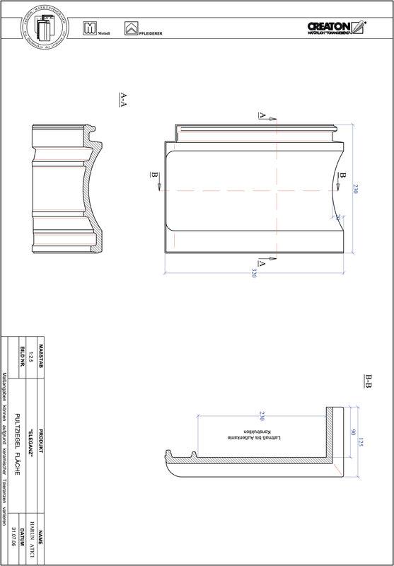 Produkt CAD-Datei ELEGANZ Pultziegel Fläche PULTFLA