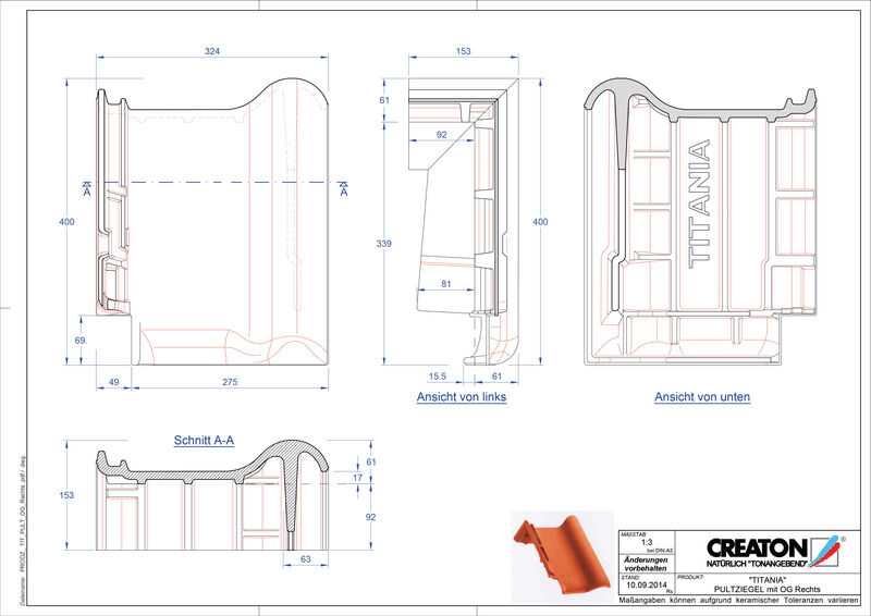 Produkt CAD-Datei TITANIA Pultziegel Ortgang rechts PULTOGR
