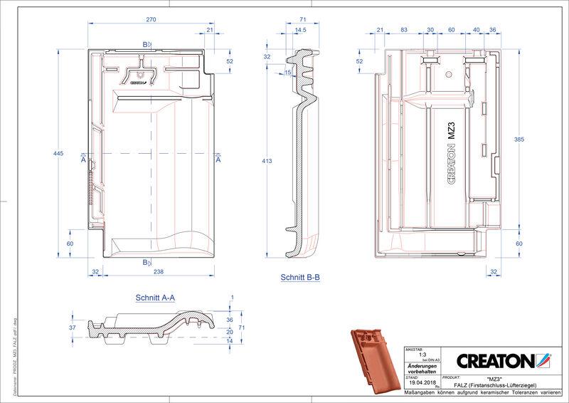Produkt CAD-Datei MZ3 NEU Firstanschlusslüfterziegel FALZ