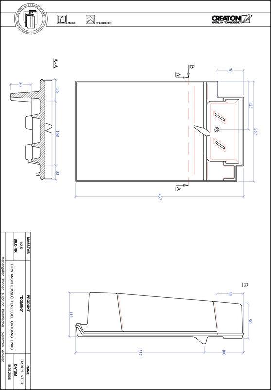 Produkt CAD-Datei DOMINO Firstanschlusslüfter Ortgang links FALOGL