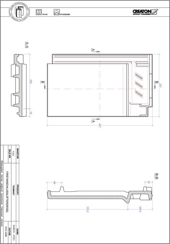 Produkt CAD-Datei DOMINO Firstanschlusslüfterziegel FALZ