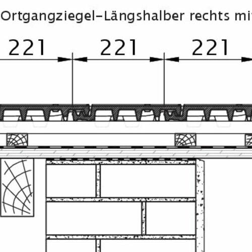 Produkt technische Zeichnung VISIO OG-Längshalber rechts mit Ortgangbrett OLH