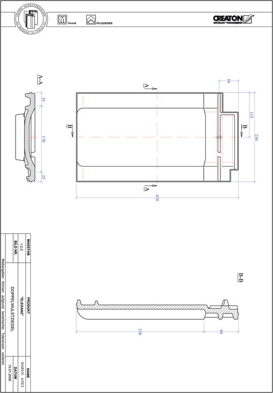 Produkt CAD-Datei ELEGANZ Doppelwulstziegel DWZ