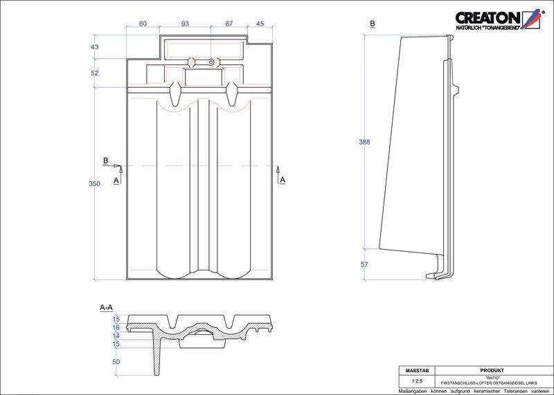 Produkt CAD-Datei RATIO Firstanschlusslüfter Ortgang links FALOGL