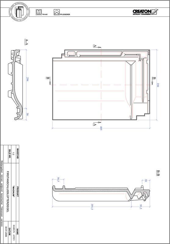Produkt CAD-Datei MAGNUM Firstanschlusslüfterziegel FALZ