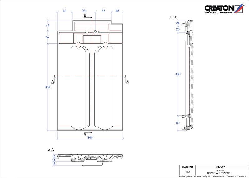 Produkt CAD-Datei RATIO Doppelwulstziegel DWZ