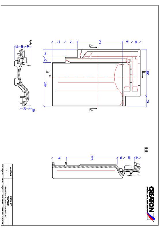 Produkt CAD-Datei SINFONIE Firstanschlusslüfterziegel FALZ