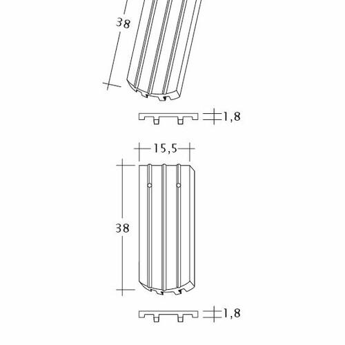 Produkt technische Zeichnung PROFIL Kera-Saechs-15cm-FlaechenLUEFTZ