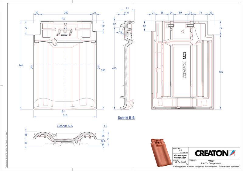 Produkt CAD-Datei MZ3 NEU Firstanschlusslüfter Doppelwulstziegel FALDWZ