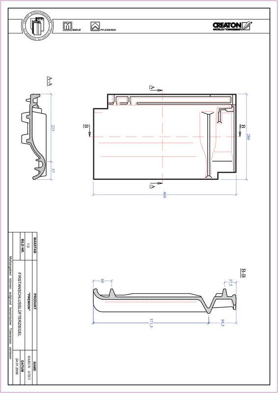 Produkt CAD-Datei PREMION Firstanschlusslüfterziegel FALZ