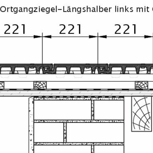 Produkt technische Zeichnung VISIO OG-Längshalber links mit Ortgangbrett OLH