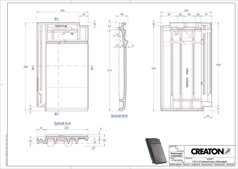 Produkt CAD-Datei VISIO Firstanschlusslüfterziegel FALZ