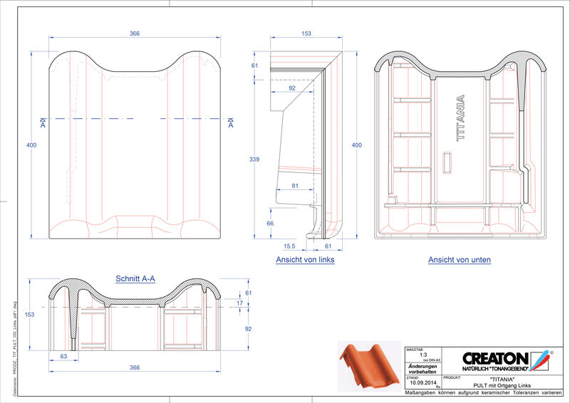 Produkt CAD-Datei TITANIA Pultziegel Ortgang links PULTOGL