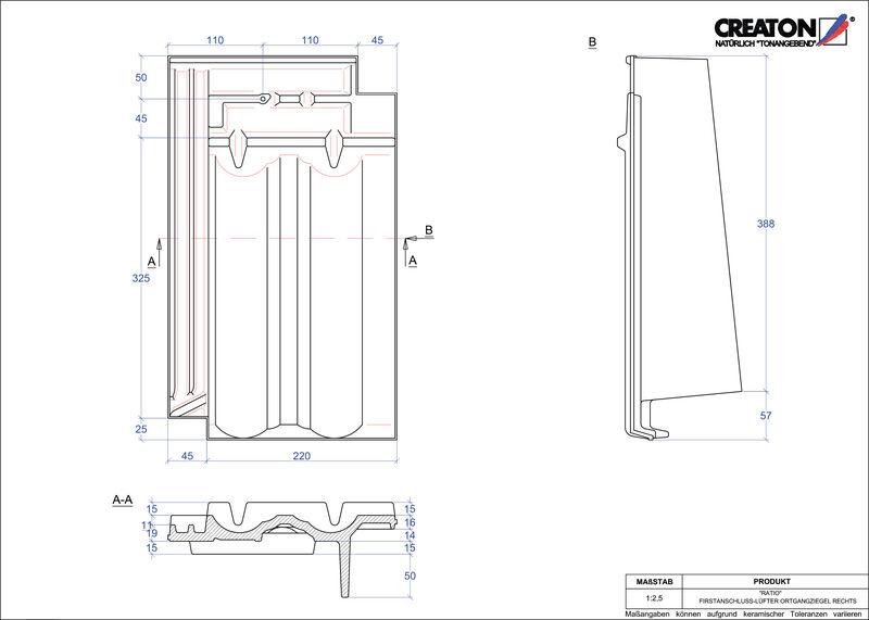 Produkt CAD-Datei RATIO Firstanschlusslüfter Ortgang rechts FALOGR