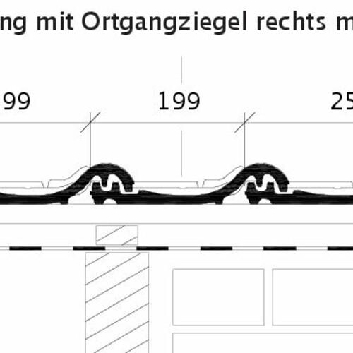 Produkt technische Zeichnung HARMONIE OG rechts mit Ortgangblech und Flächenziegel ORF