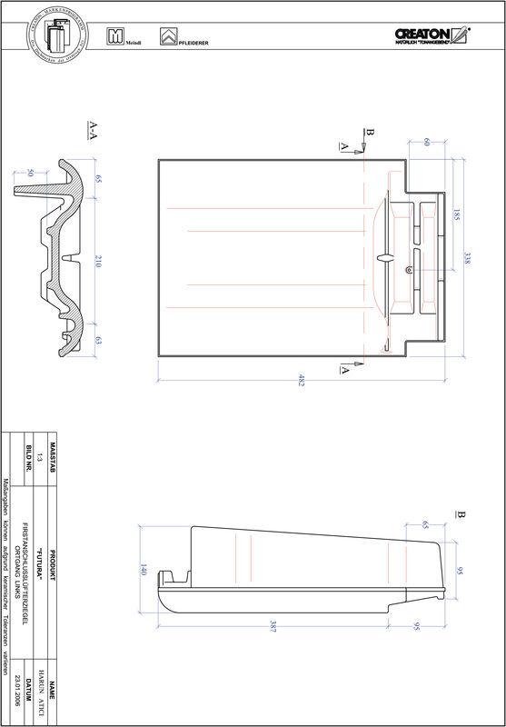 Produkt CAD-Datei FUTURA Firstanschlusslüfter Ortgang links FALOGL