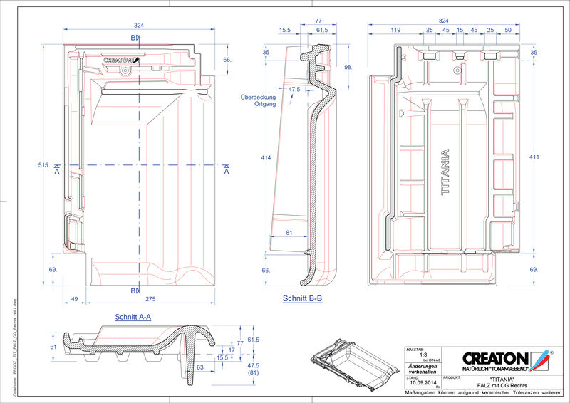 Produkt CAD-Datei TITANIA Firstanschlusslüfter Ortgang rechts FALOGR