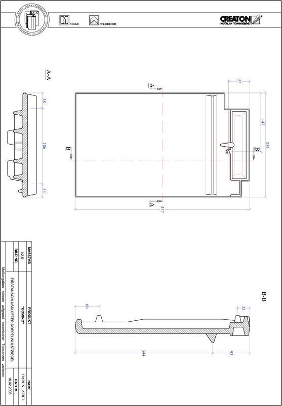 Produkt CAD-Datei DOMINO Firstanschlusslüfter Doppelwulstziegel FALDWZ