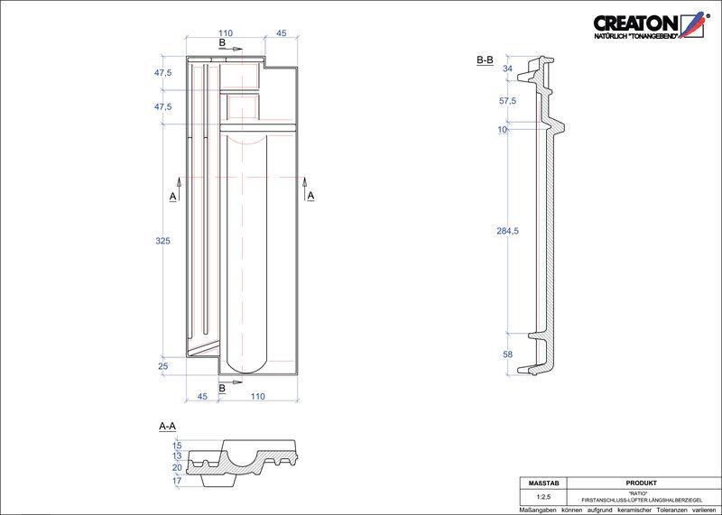 Produkt CAD-Datei RATIO Firstanschlusslüfter Längshalber FALLH