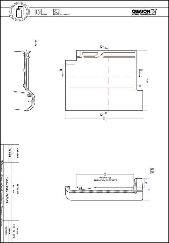 Produkt CAD-Datei FUTURA Pultziegel Fläche PULTFLA