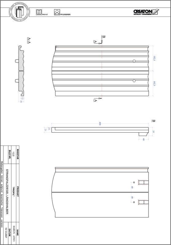 Produkt CAD-Datei PROFIL Segmentschnitt STRANGFALZ-GEWELLT-LH