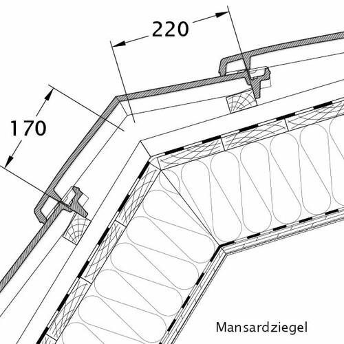 Produkt technische Zeichnung VISIO Mansardziegel MAZ