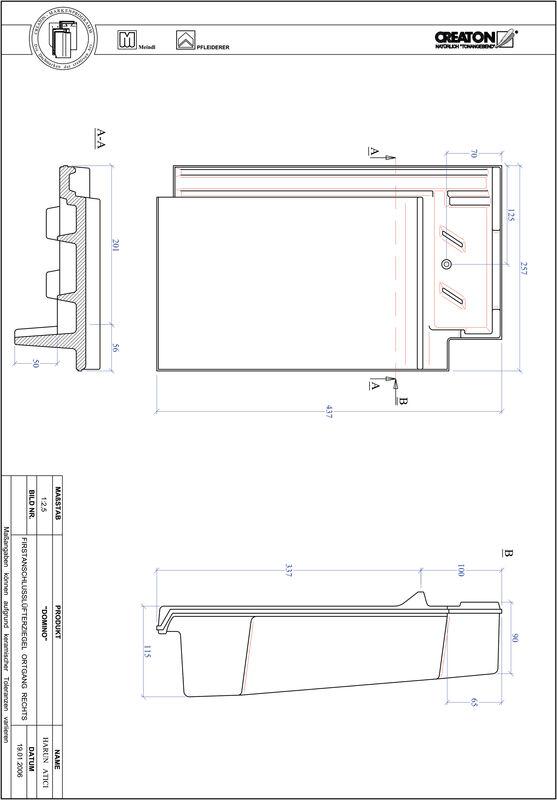 Produkt CAD-Datei DOMINO Firstanschlusslüfter Ortgang rechts FALOGR