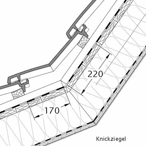 Produkt technische Zeichnung VISIO Knickziegel KNZ